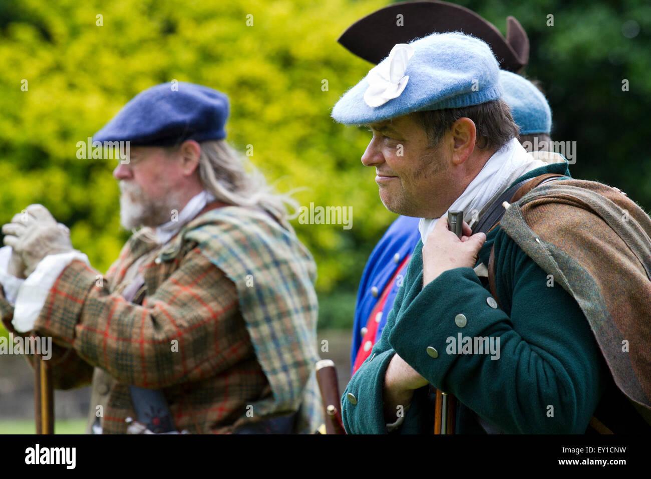 Scottish gentry at Hoghton Towers, Chorley, Lancashire, UK.19th July, 2015.   Jacobites and civilians at the Battle Stock Photo