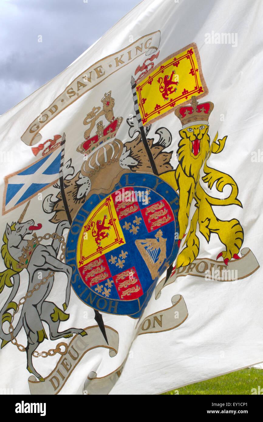 Hoghton Towers, Chorley, Lancashire, UK. 19th July, 2015.  'God Save King'  Battle Standard at the Battle of Preston Stock Photo