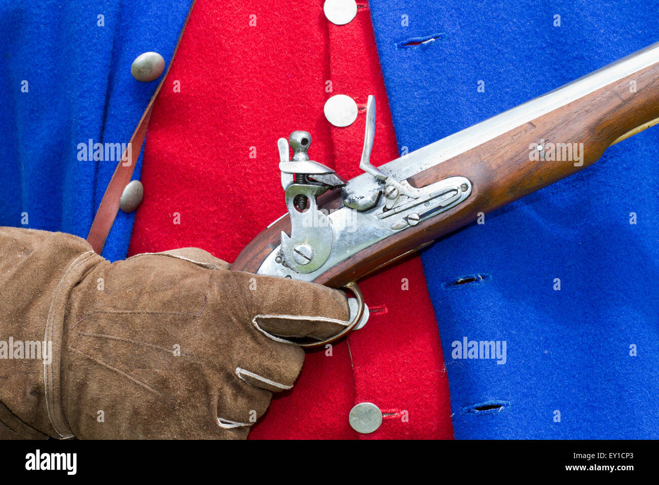 Hoghton Towers, Chorley, Lancashire, UK. 19th July, 2015.   Musket detail at the Battle of Preston – the last battle Stock Photo