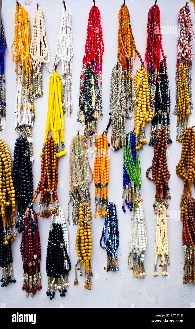 Selection of traditional prayer beads on display at a Turkish market Stock Photo