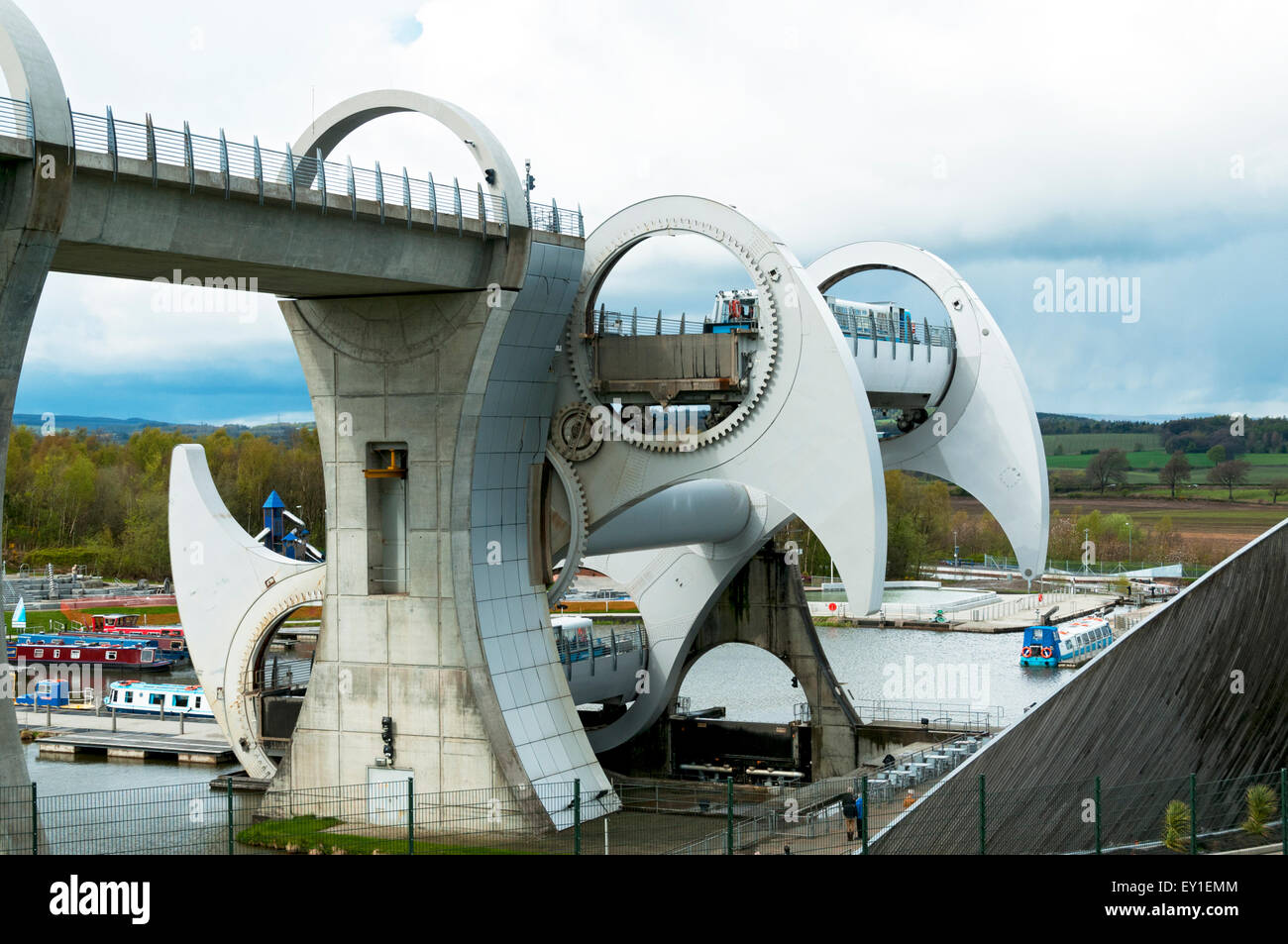The Falkirk Wheel, the world's first and only rotating boat lift, Falkirk, Scotland, UK - Stock Image