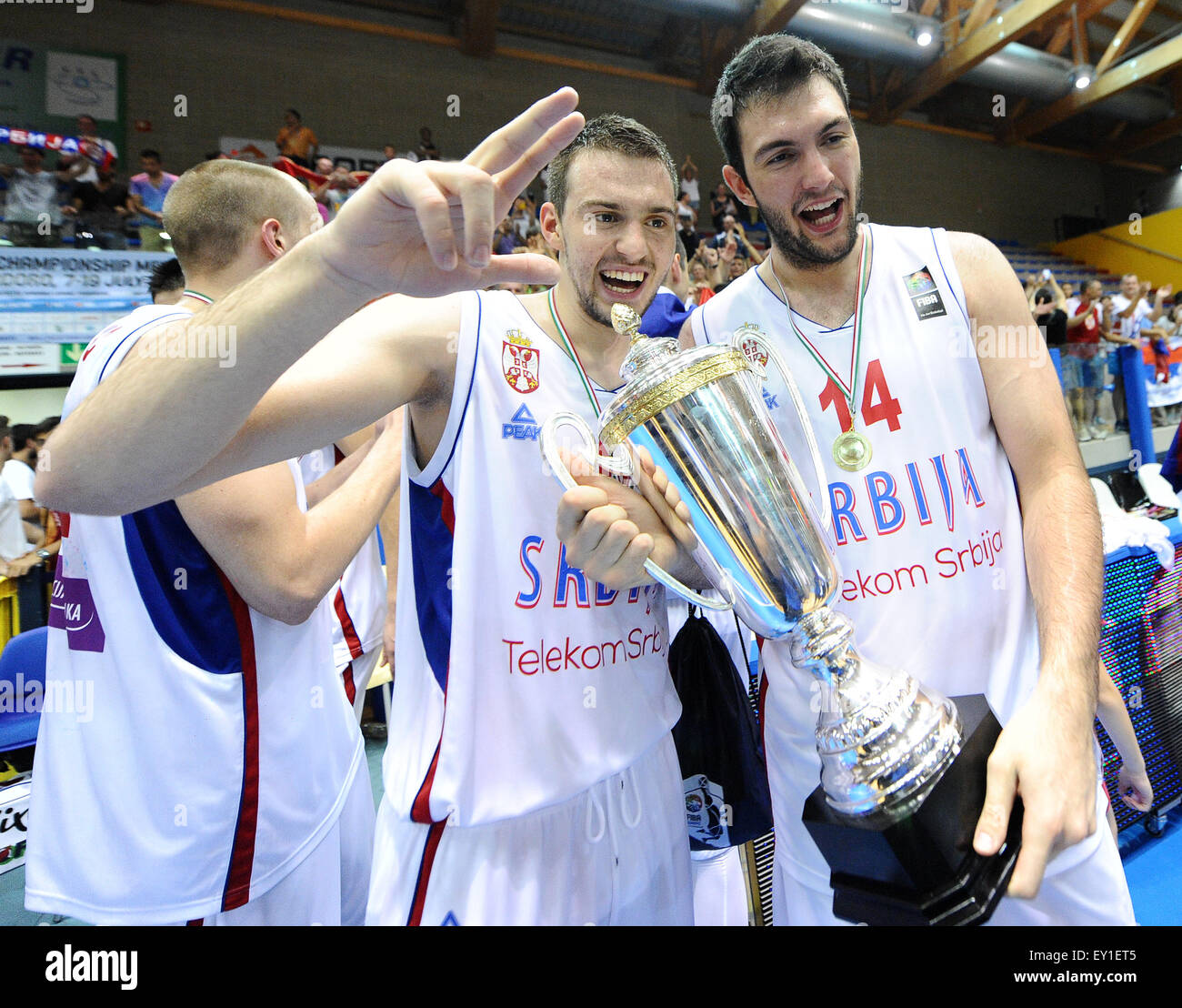 Lignano, Italy. 19th July, 2015. Marko Guduric (SRB) and Djoko Salic (SRB) celebrating the Serbia victory of U20 - Stock Image
