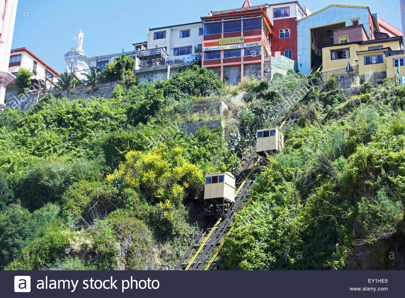 Yellow funicular, Valparaiso, Chile, South America - Stock Image