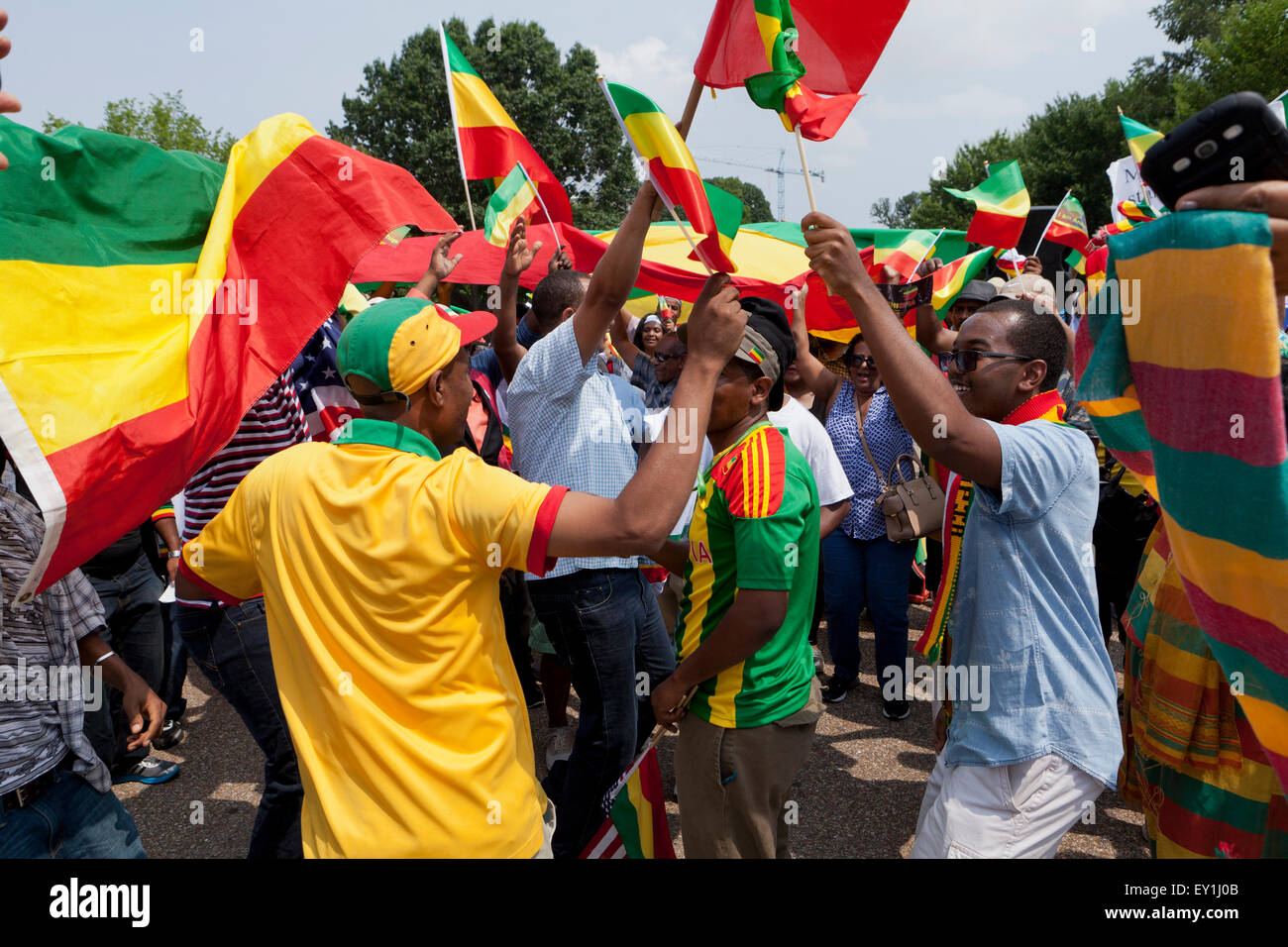 Ethiopian Americans protest outside of the White House against president Obama's planned official visit to Ethiopia Stock Photo