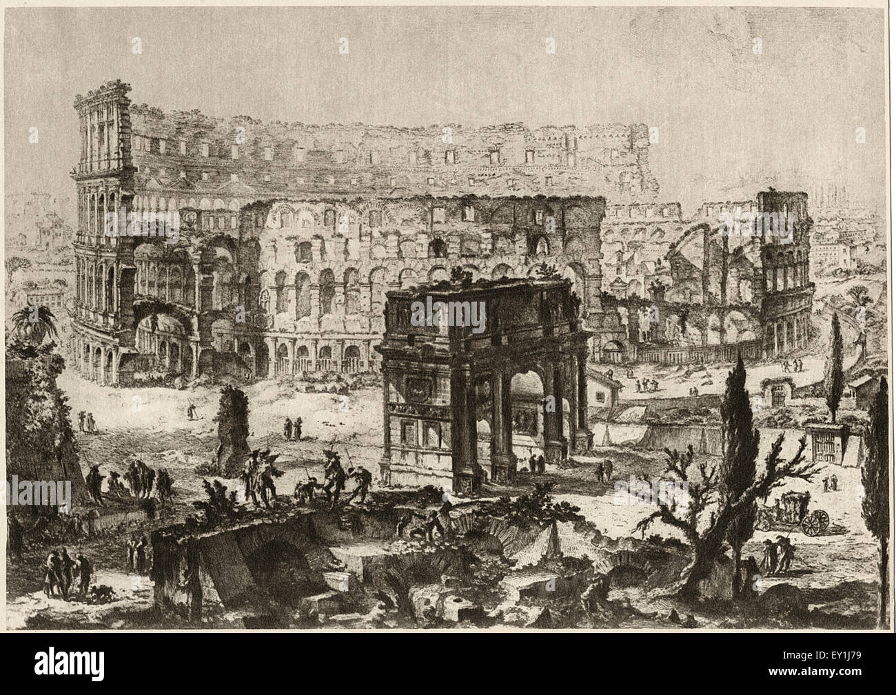 Colosseum, Rome, Italy, Illustration from 1760 Etching by Giovanni Battista  Piranesi, 1918