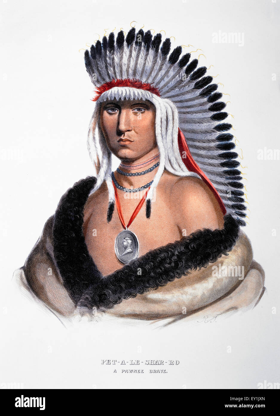 Pet-A-Le-Shar-Ro, Pawnee Chief, Portrait, McKenney & Hall Lithograph from an 1821 Painting by Charles Bird King - Stock Image