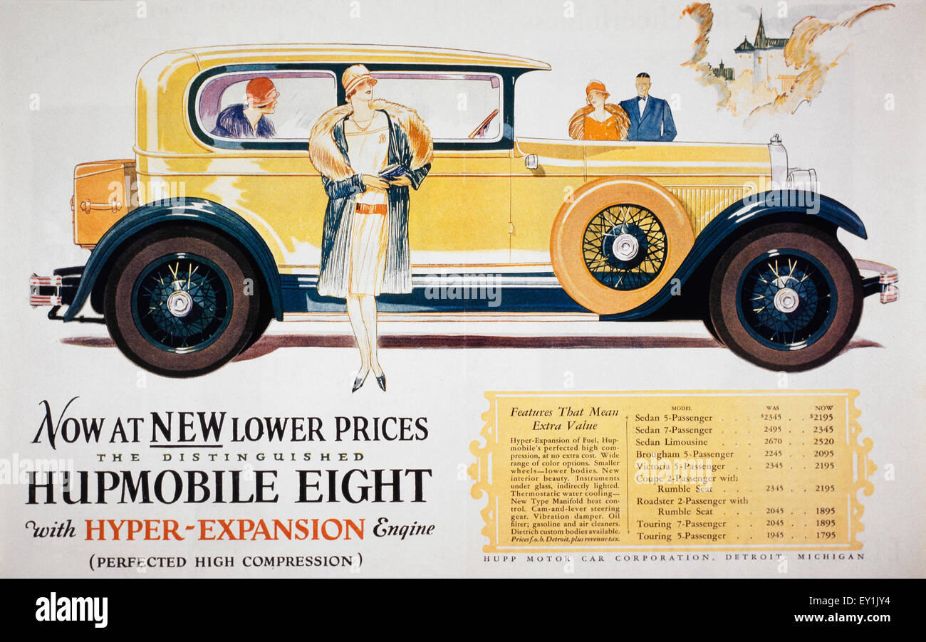 Advertisement for Hupp Motor Car  Company, 1927 - Stock Image