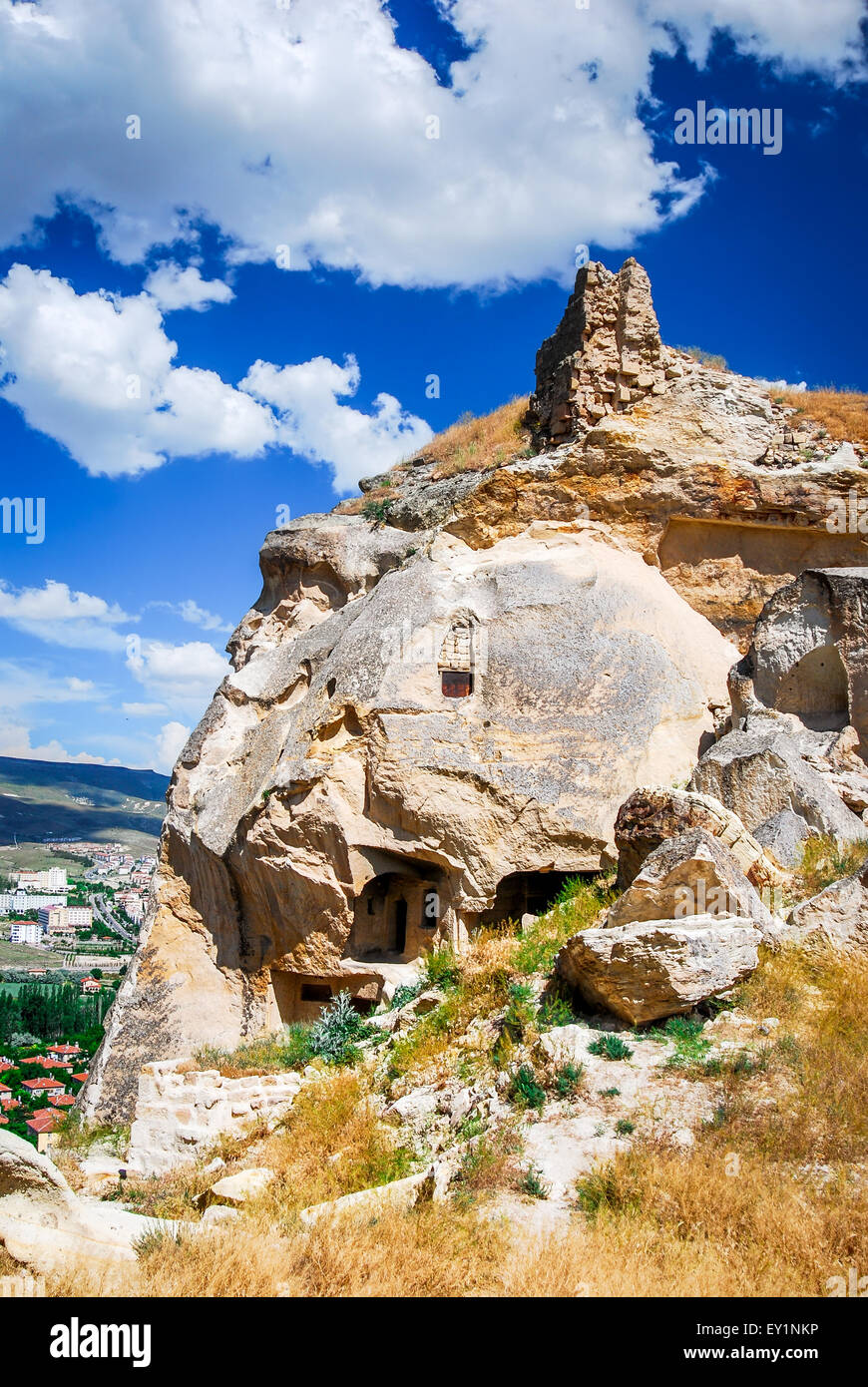 Turkey, Urgup. Multi-storey 'home' of the cave town, in the historical region of Cappadocia, Central Anatolia - Stock Image