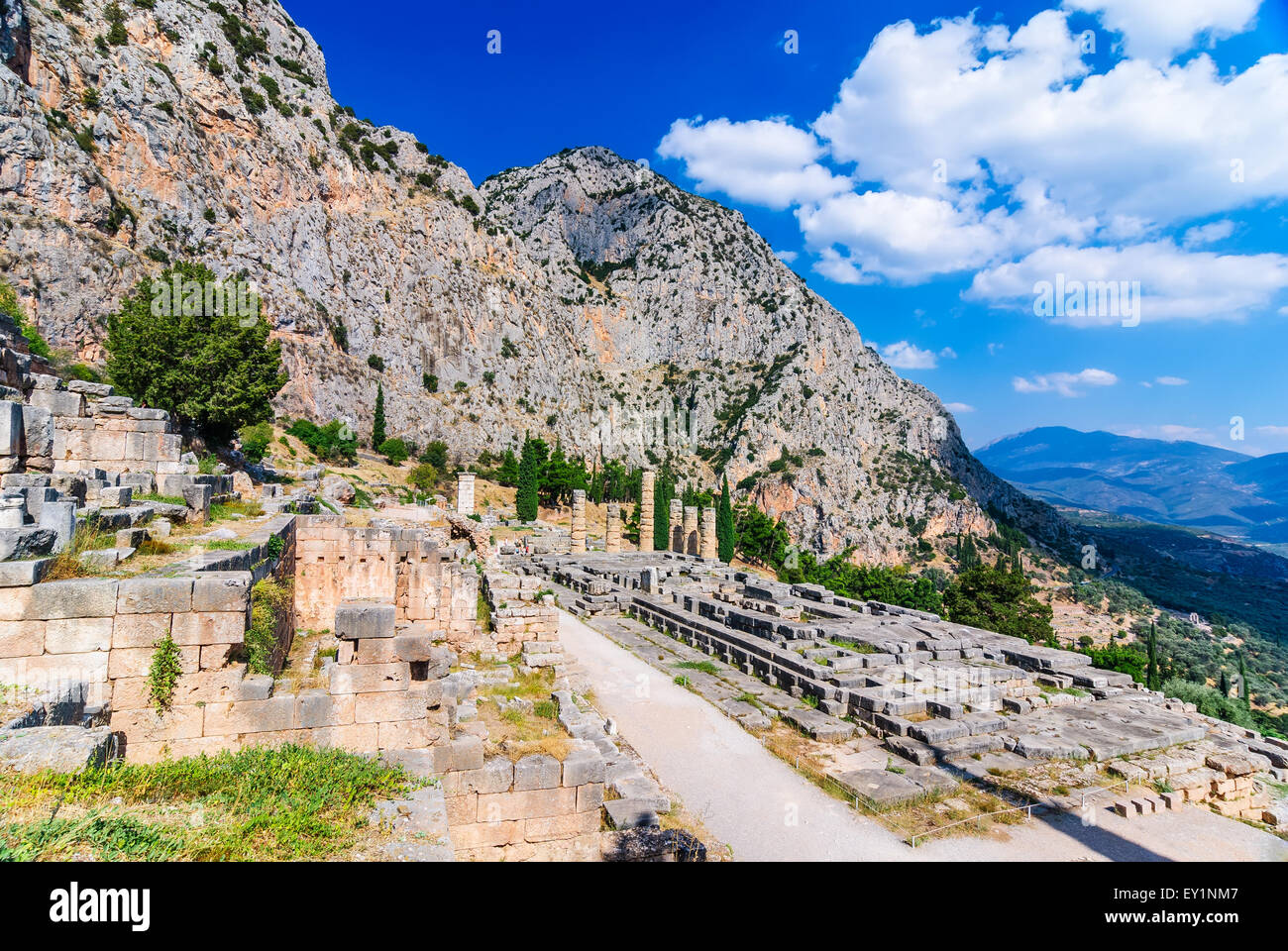 Ancient Greece. Ruins remains of the large temple of Apollo, Delphi, Greece, greek culture landmark. Stock Photo