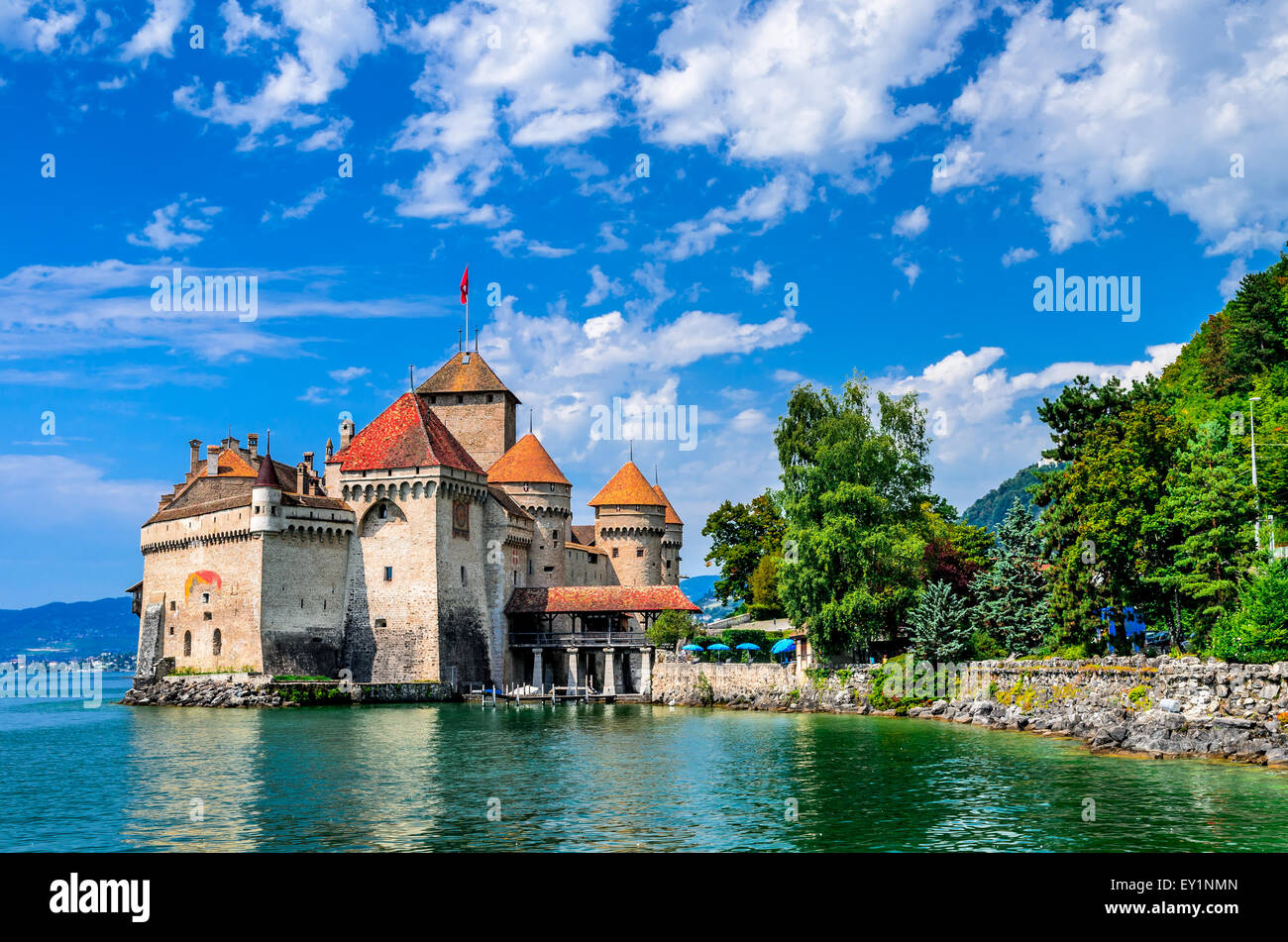 Switzerland. Chillon Castle one of the most visited castle in Swiss attracts at Geneva Lake. - Stock Image
