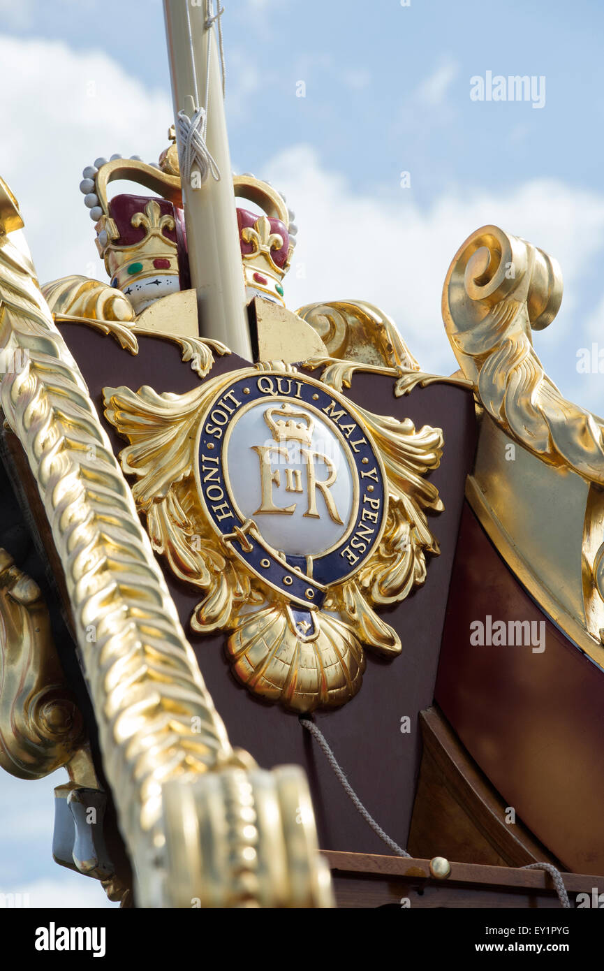 The Queen's Rowbarge Gloriana at the Thames Traditional Boat Festival, Fawley Meadows, Henley On Thames, Oxfordshire, - Stock Image