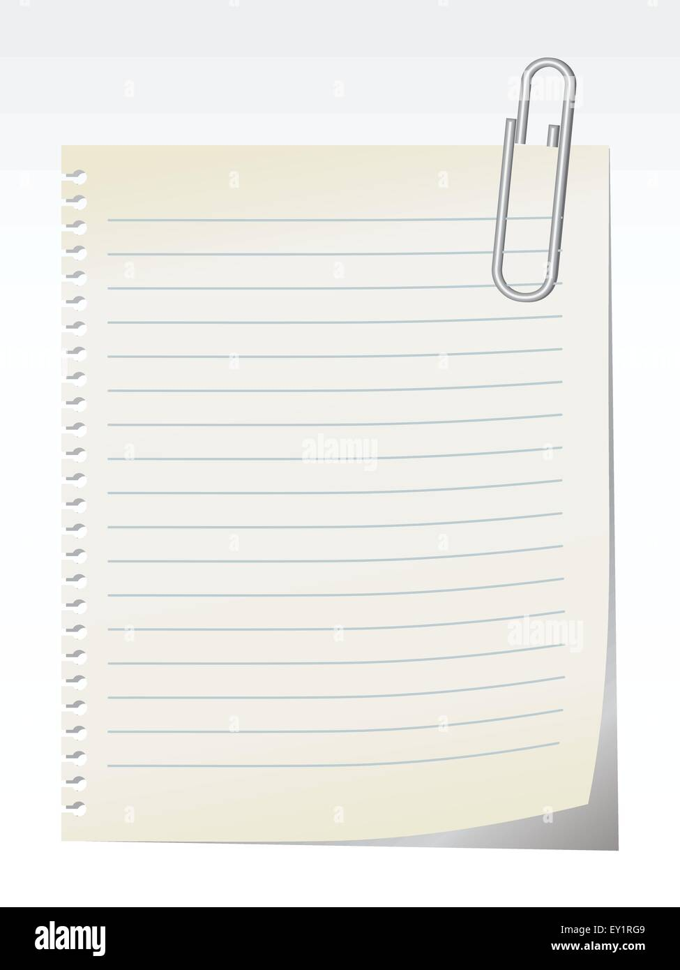 Lined blank note breaked away from the notebook - vector - Stock Image