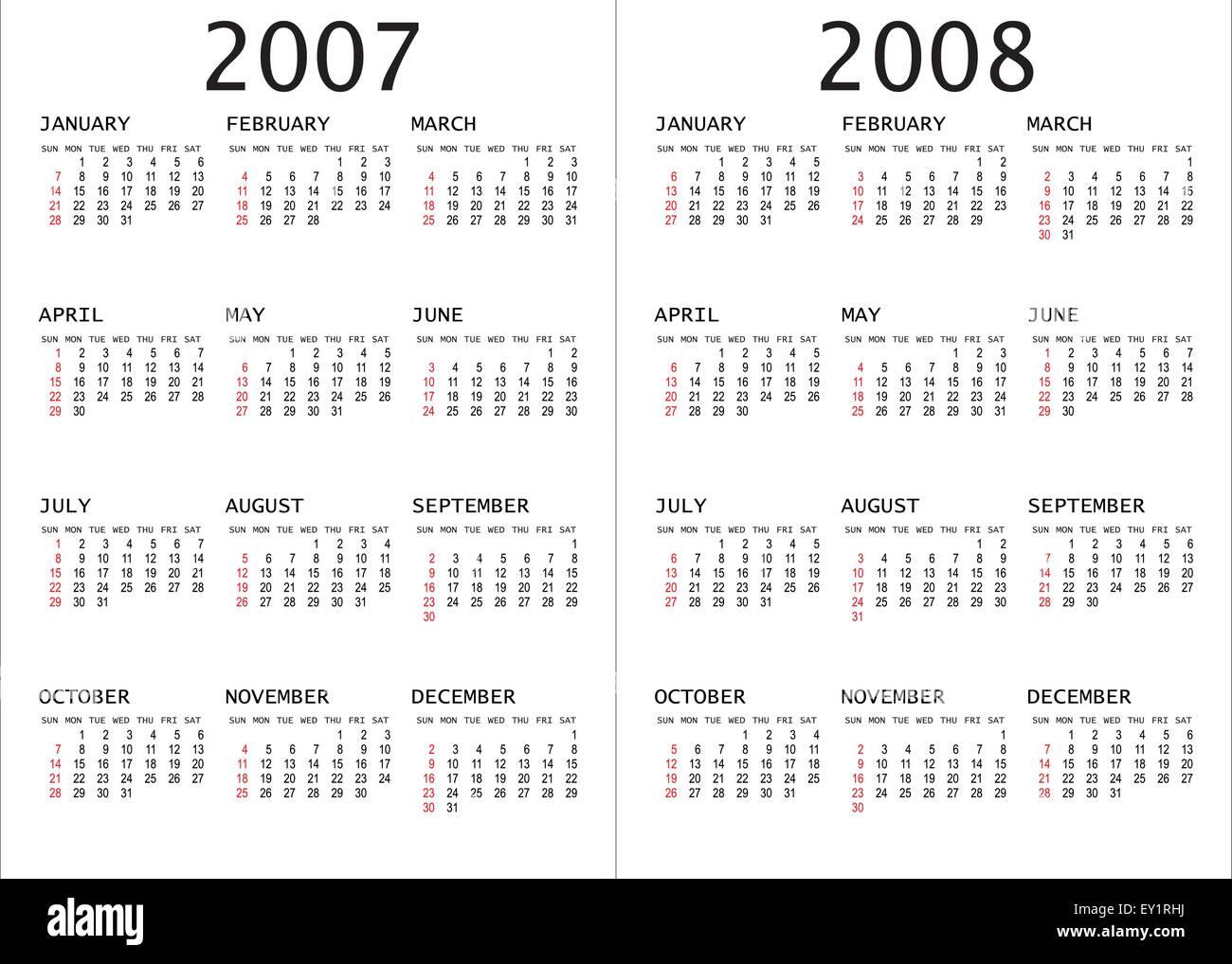 Calendario 2008.2007 2008 Calendar Vector Illustration Stock Vector Art