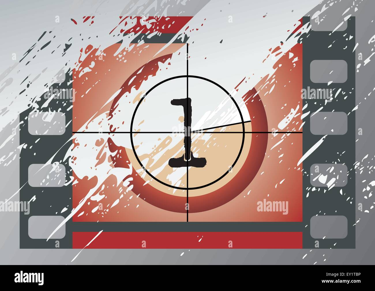 Scratched Film Countdown at No 1 - Stock Vector