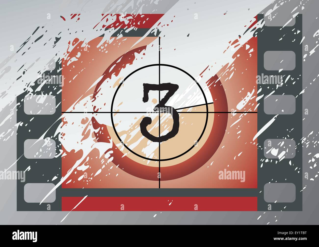 Scratched Film Countdown at No 3 - Stock Vector