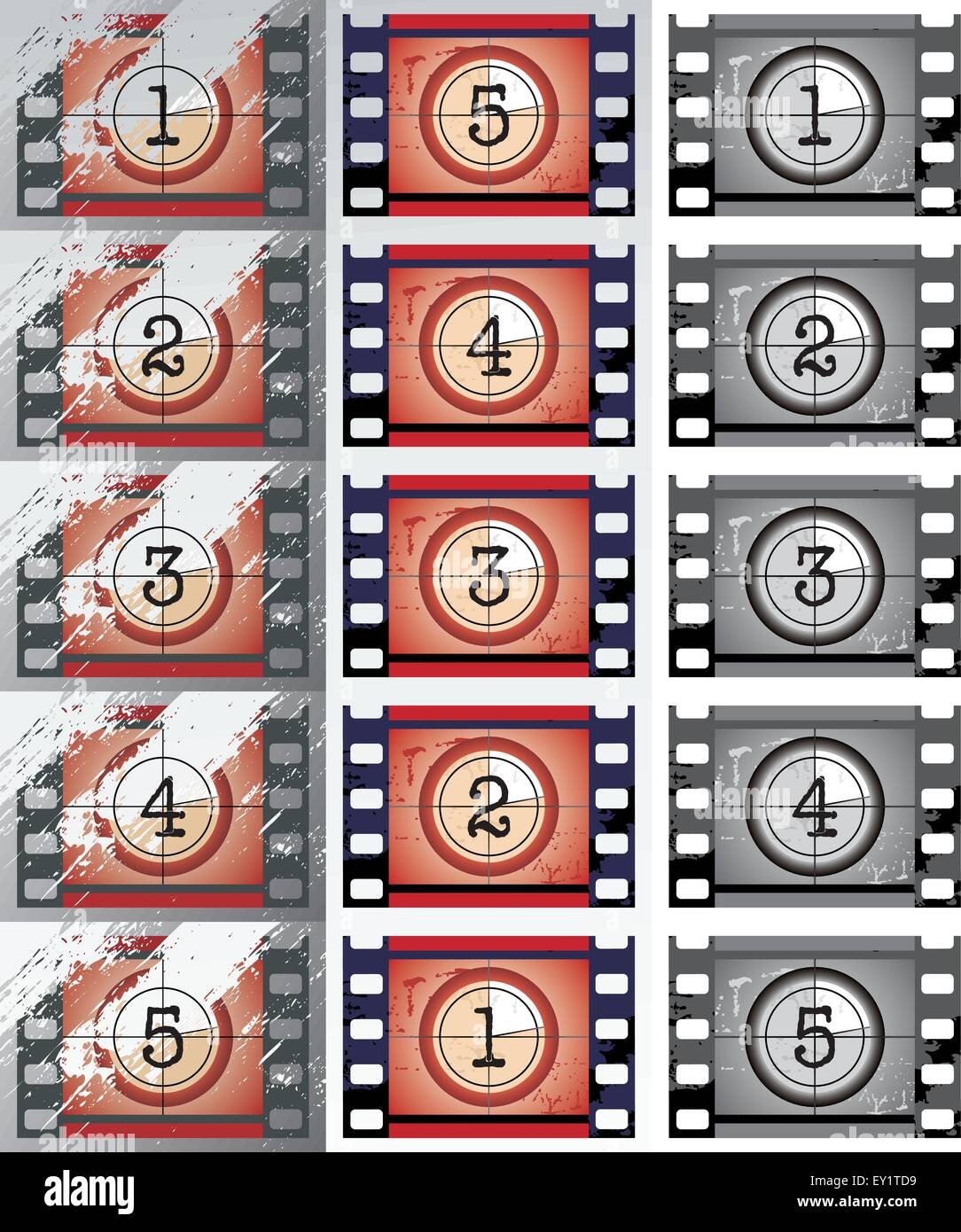 grunge, black and white film countdowns (vector) - Stock Vector
