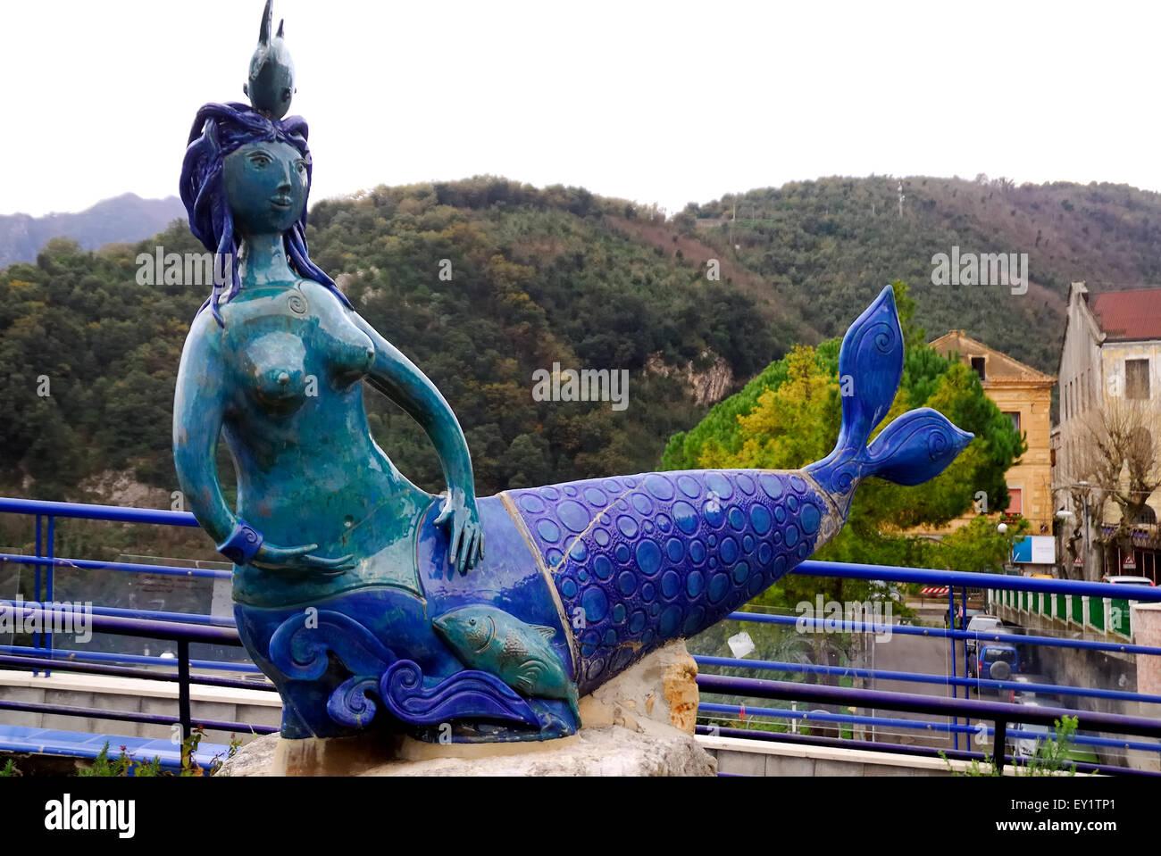 Vietri sul Mare, Costiera Amalfitana, Campania, Italy. An artistic ceramic statue representing a mermaid in the Stock Photo