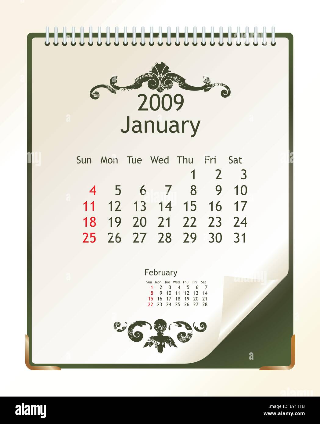 2009 calendar with a blanknote paper - vector illustration - Stock Vector