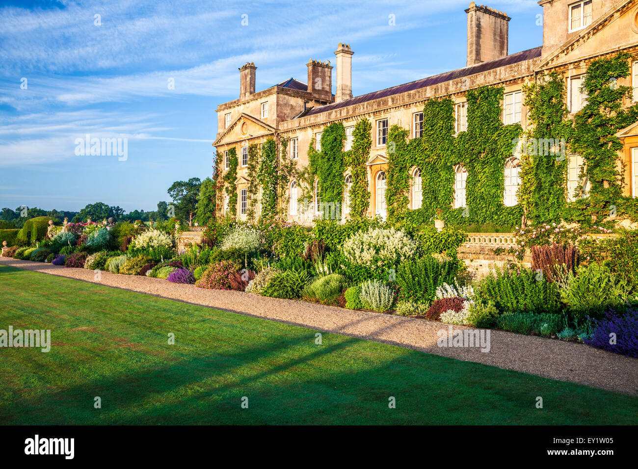 Herbaceous border below the terrace of Bowood House in Wiltshire. - Stock Image