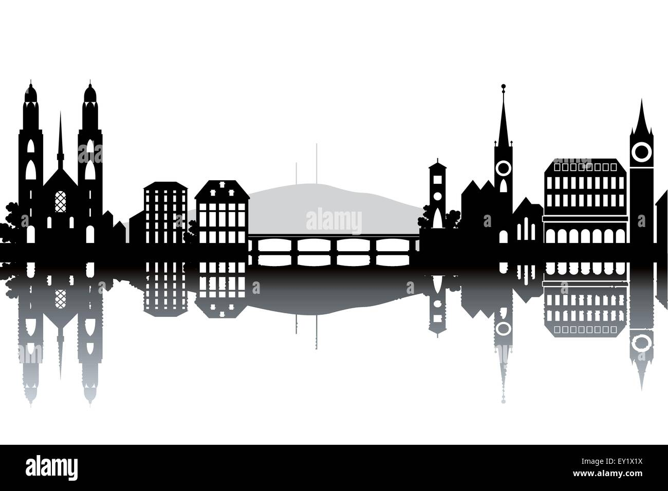 Zurich skyline - black and white vector illustration - Stock Vector