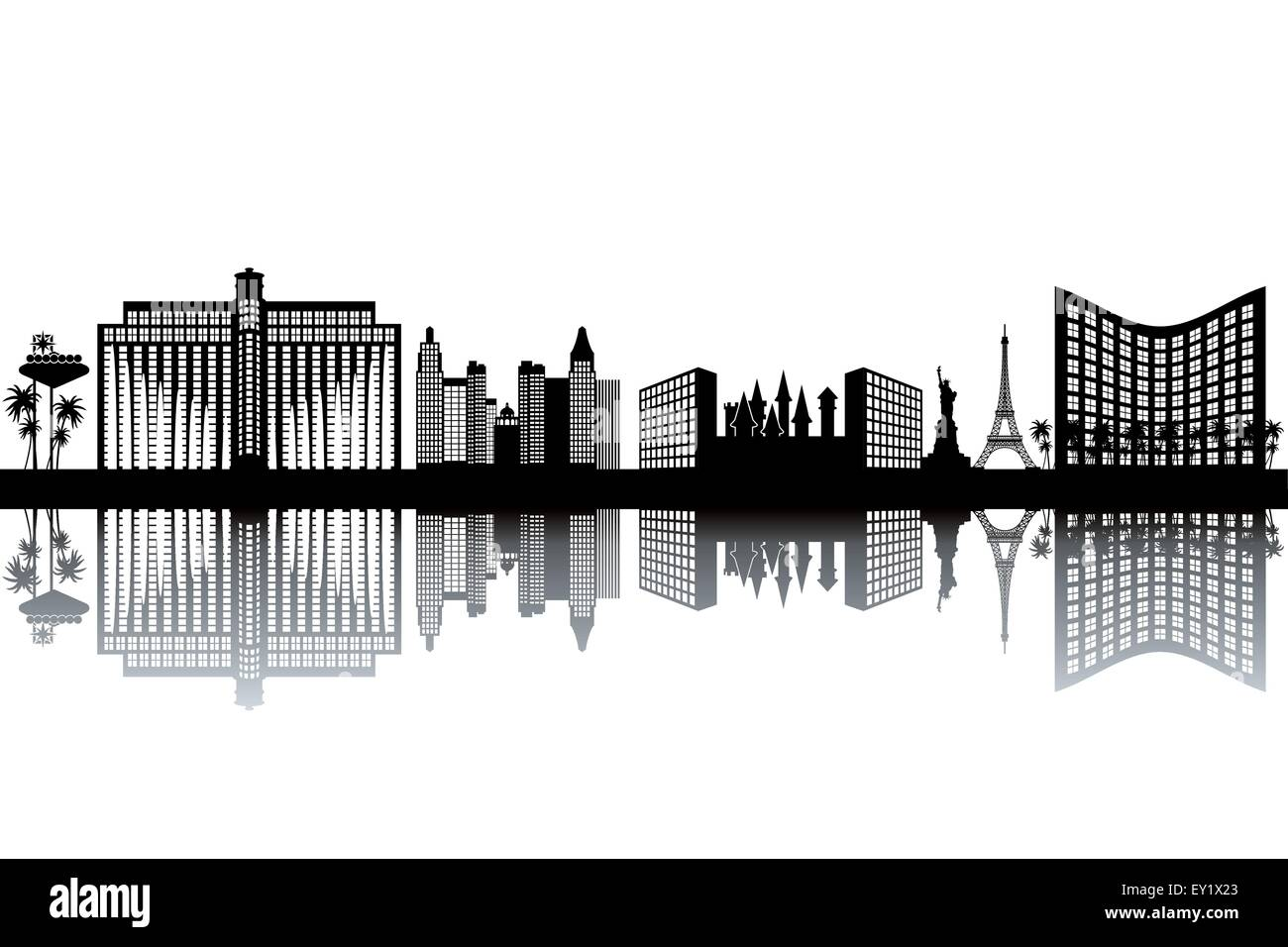 Las Vegas skyline - black and white vector illustration - Stock Vector