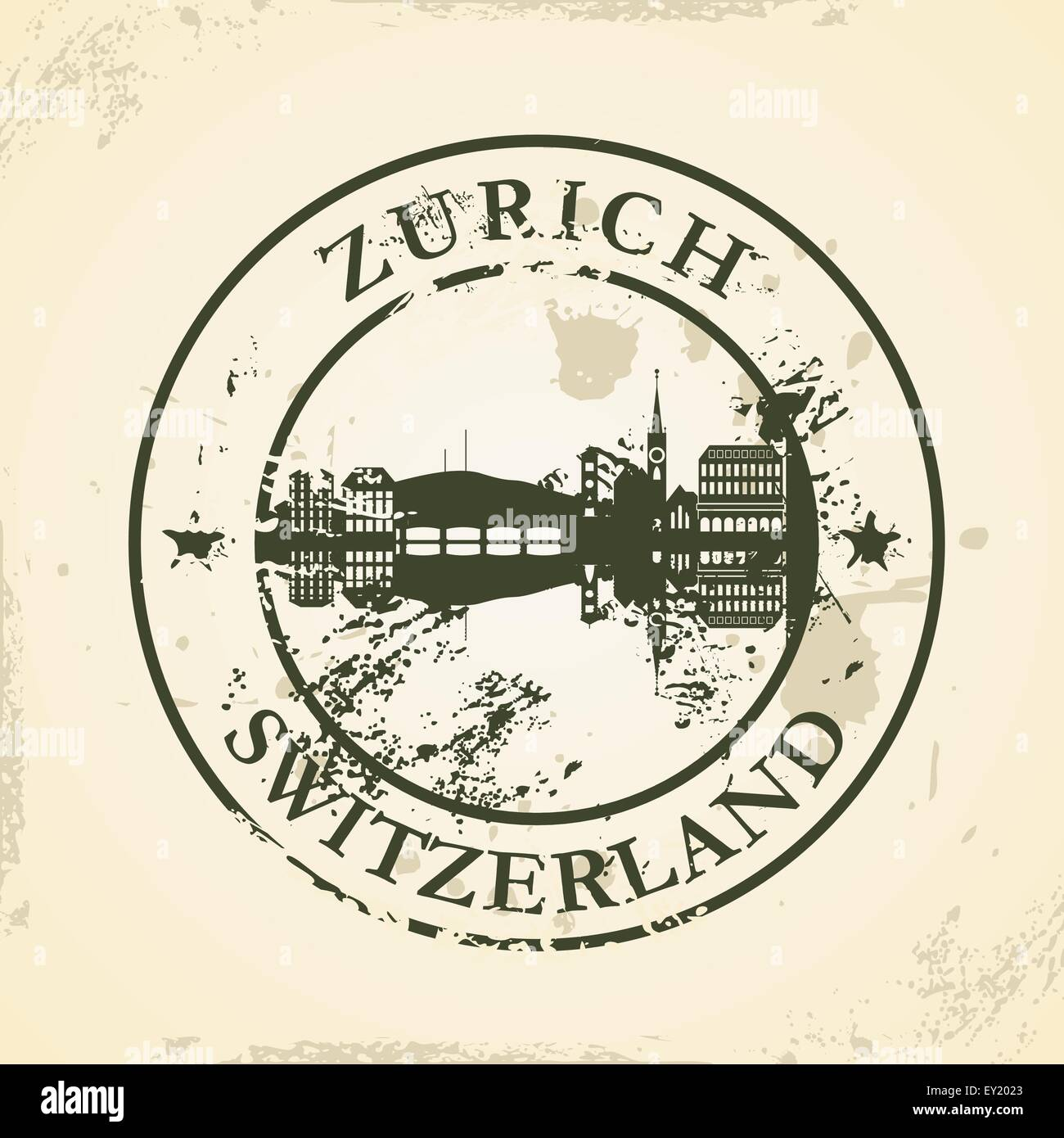 Grunge rubber stamp with Zurich, Switzerland - vector illustration - Stock Vector