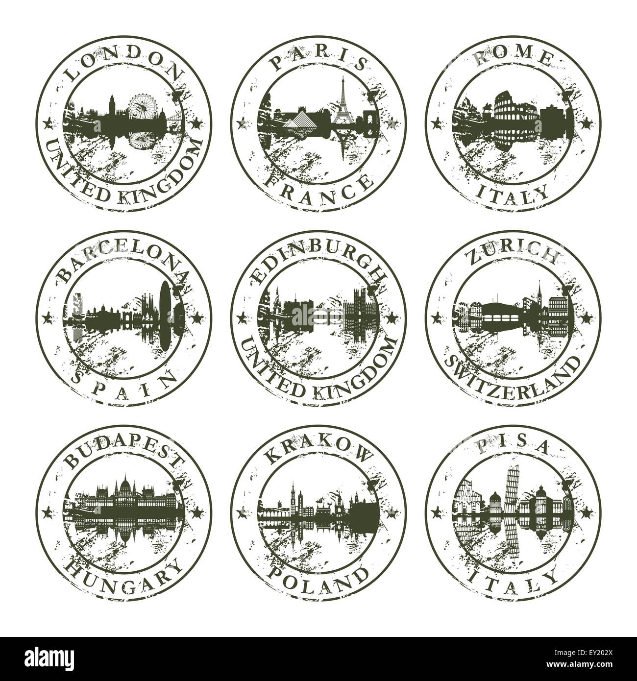 Grunge rubber stamps with London, Paris, Rome, Barcelona, Edinburgh, Zurich, Budapest, Krakow and Pisa - vector - Stock Vector