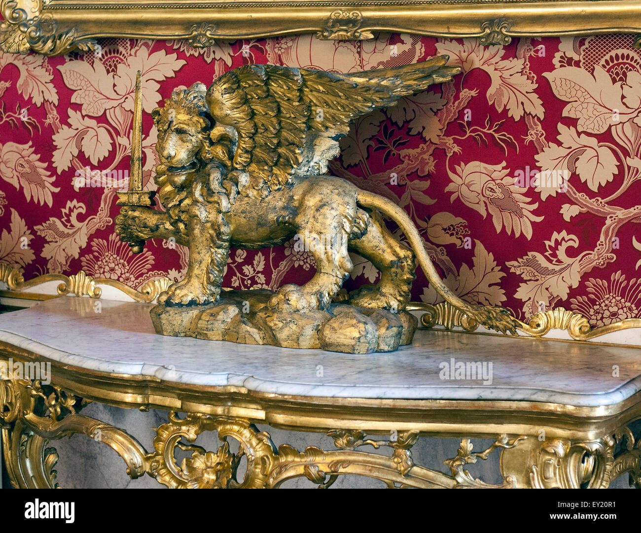 The Winged lion of St Mark, since 9th century a symbol of the Venetian Republic, Quattro Porte Museo Correr,  Venice - Stock Image