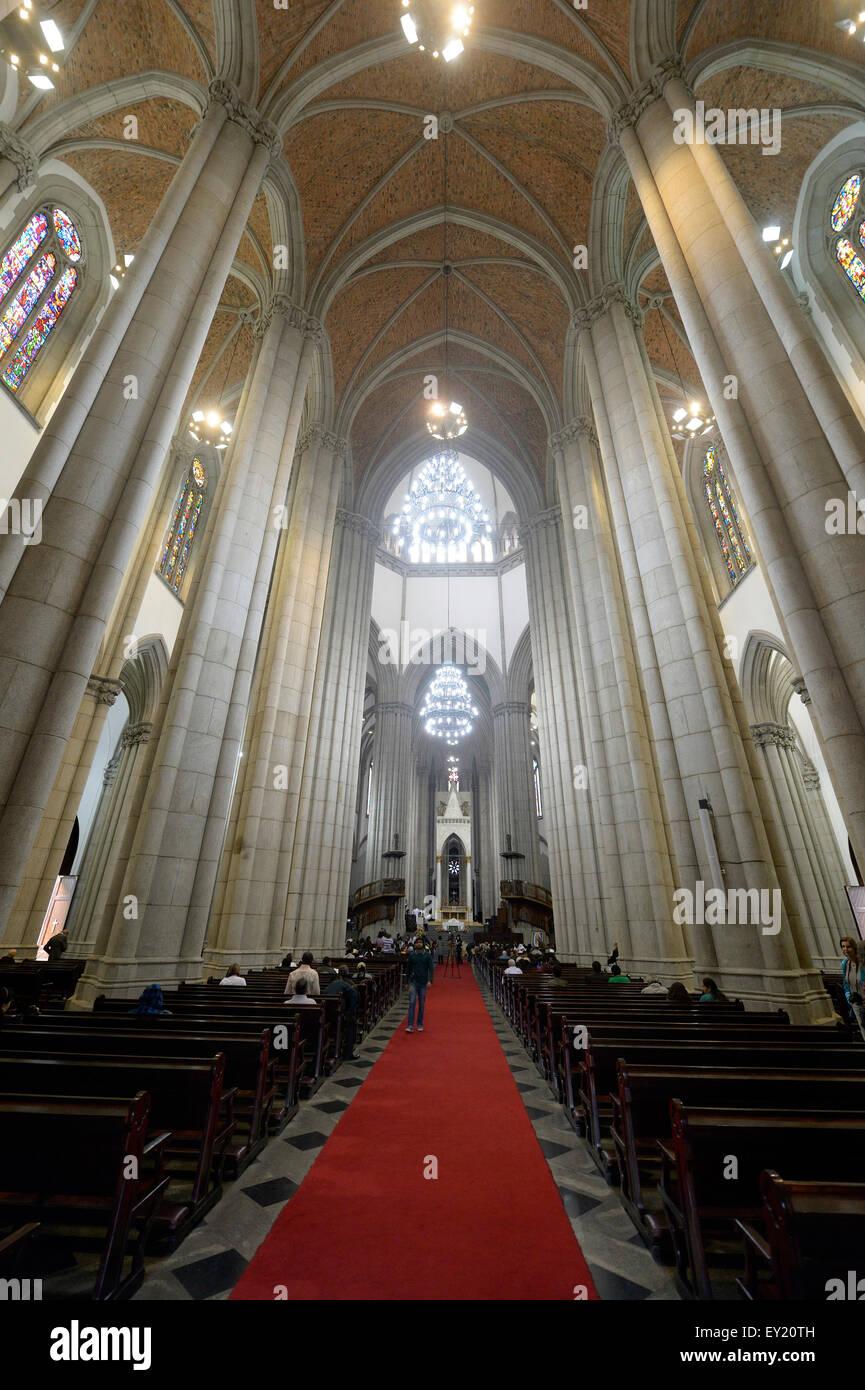 Interior, cathedral Catedral Metropolitana de São Paulo or Catedral da Sé, São Paulo, Brazil - Stock Image