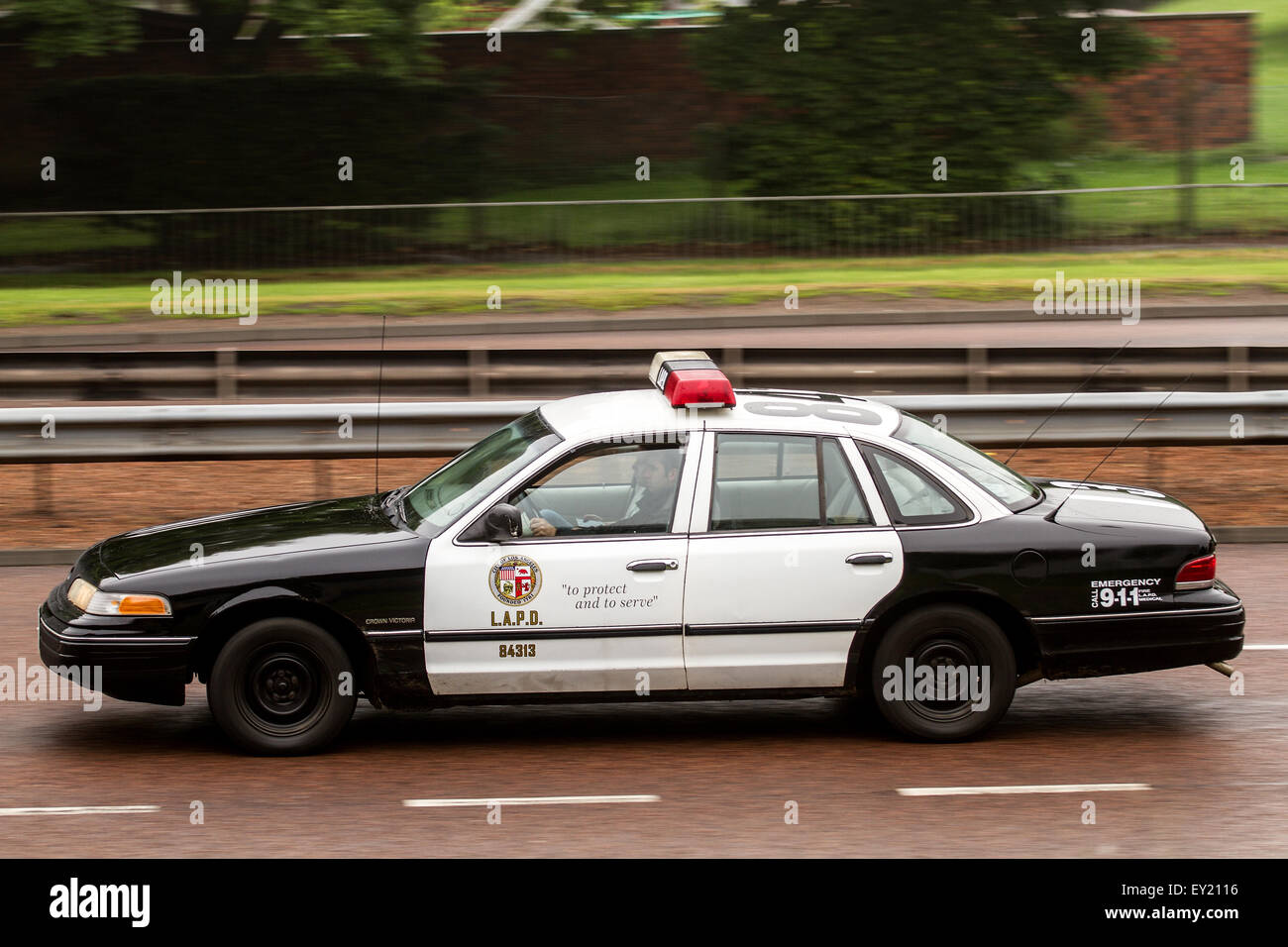 Lapd Ford Crown Victoria Police Car Travelling Along The Kingsway West Dual Carriageway In Dundee