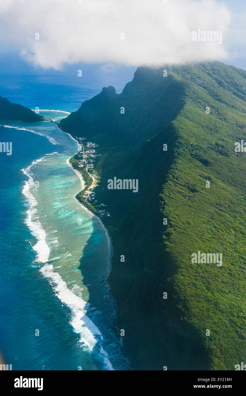 Aerial view, Ofu Island, Manu'a Group, Samoan Islands, American Samoa - Stock Image