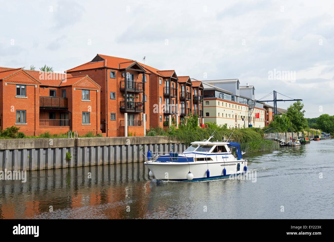 Boat on River Trent, Newark, Nottinghamshire, England UK - Stock Image