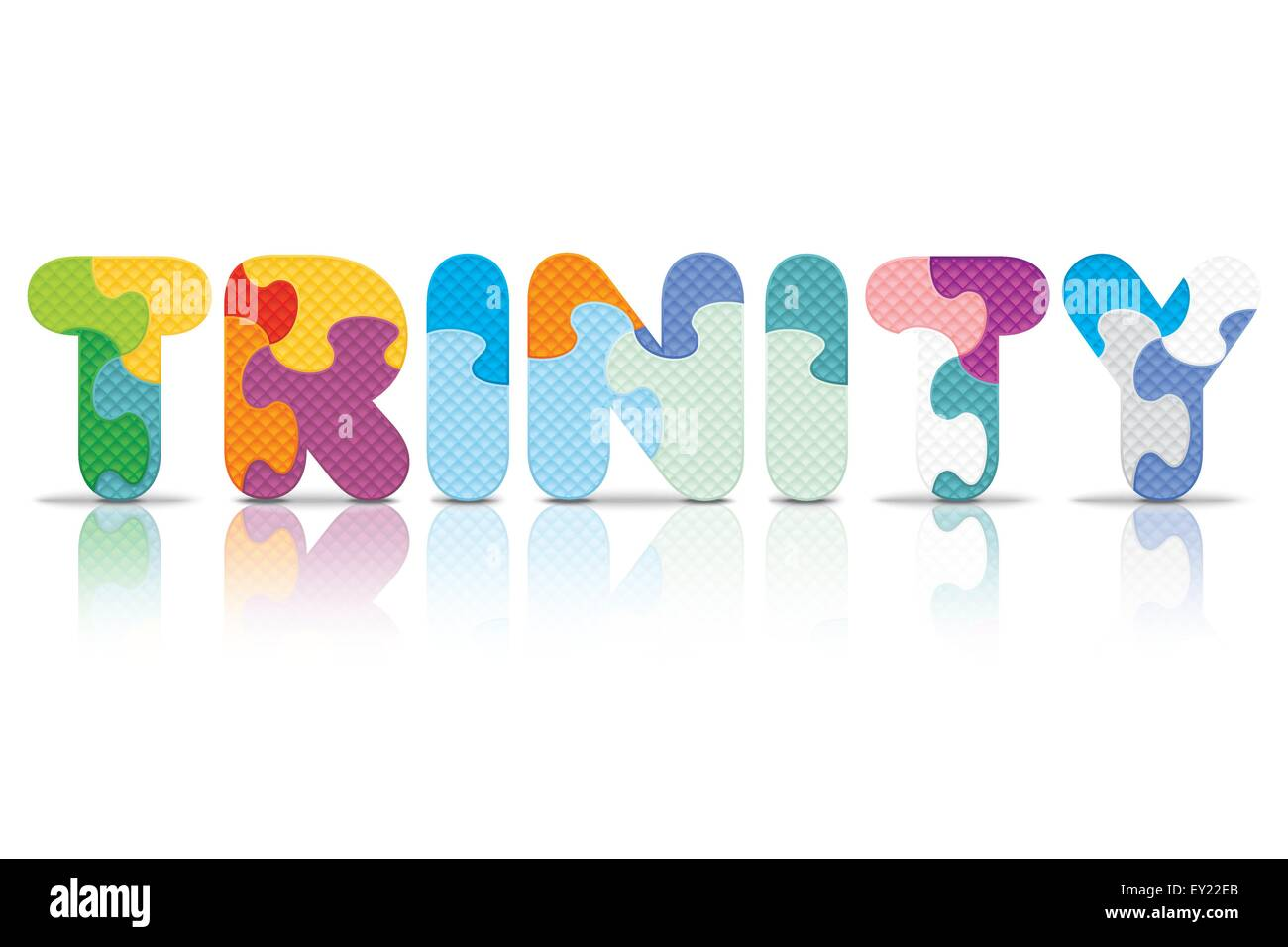 TRINITY written with alphabet puzzle - vector illustration - Stock Vector