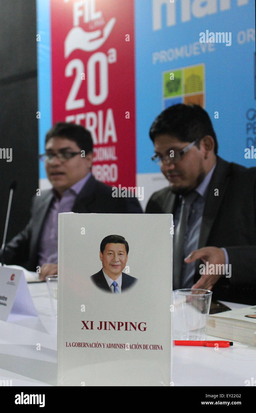 Lima, Peru. 19th July, 2015. Xi Jinping: the Governance of China, a book by Chinese President Xi Jinping, is on Stock Photo