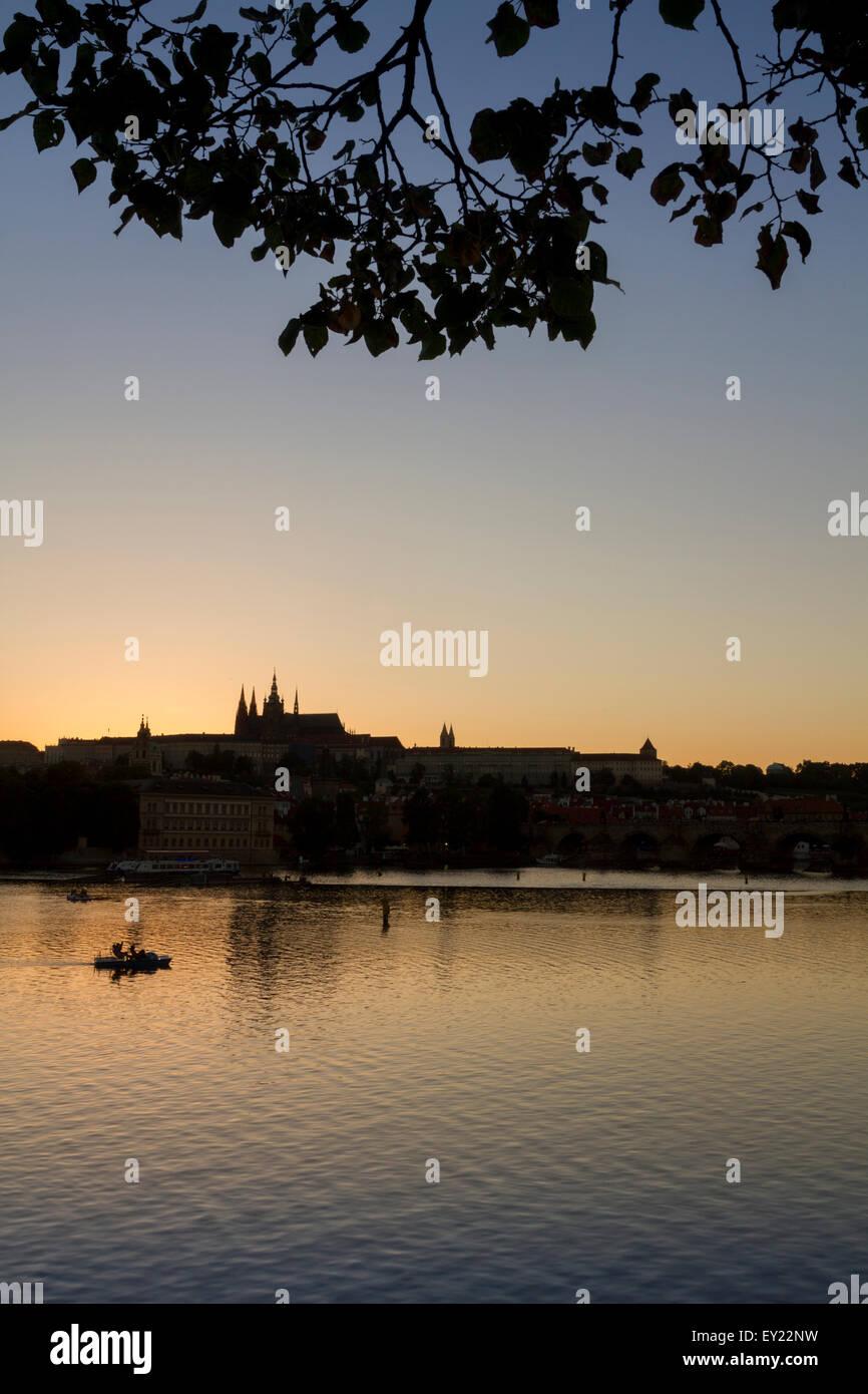 Moldova river and Prague skyline at sunset, Czech Republic - Stock Image