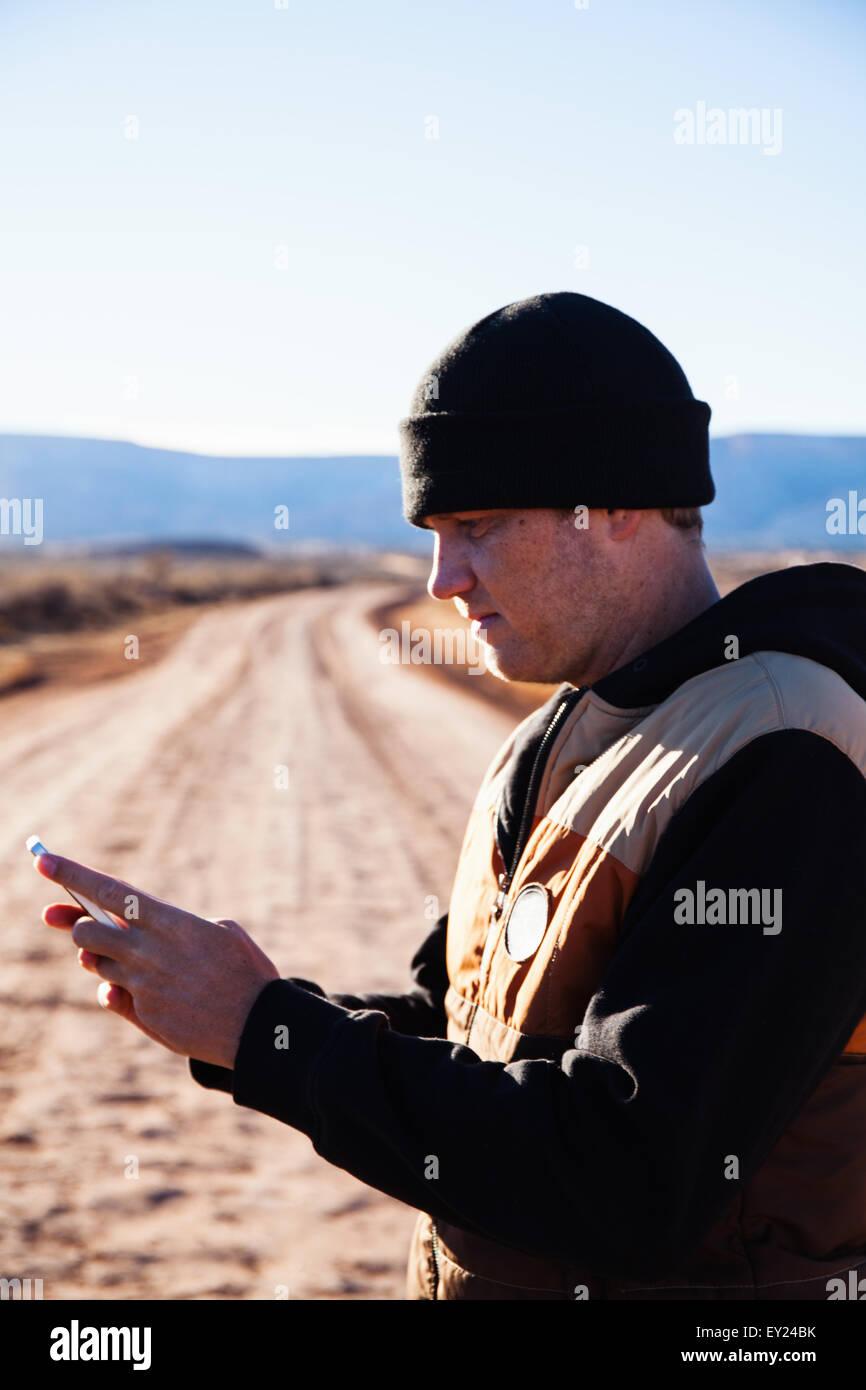 Man lost on road trip, Kayenta, Arizona, USA - Stock Image