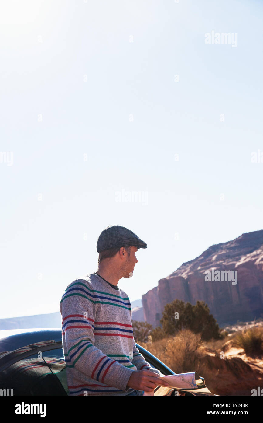 Man lost on road trip, Monument Valley, Utah, USA Stock Photo