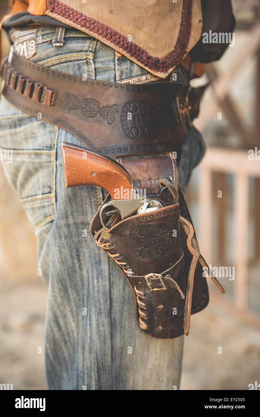 Cropped close up of cowboy holster on wild west film set, Fort Bravo, Tabernas, Almeria, Spain - Stock Image