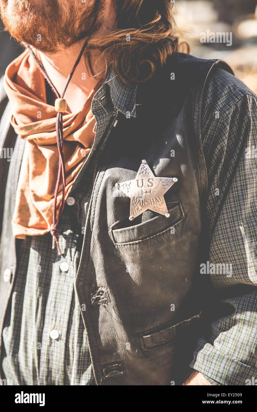 Cropped shot of cowboy sheriff on wild west film set, Fort Bravo, Tabernas, Almeria, Spain - Stock Image