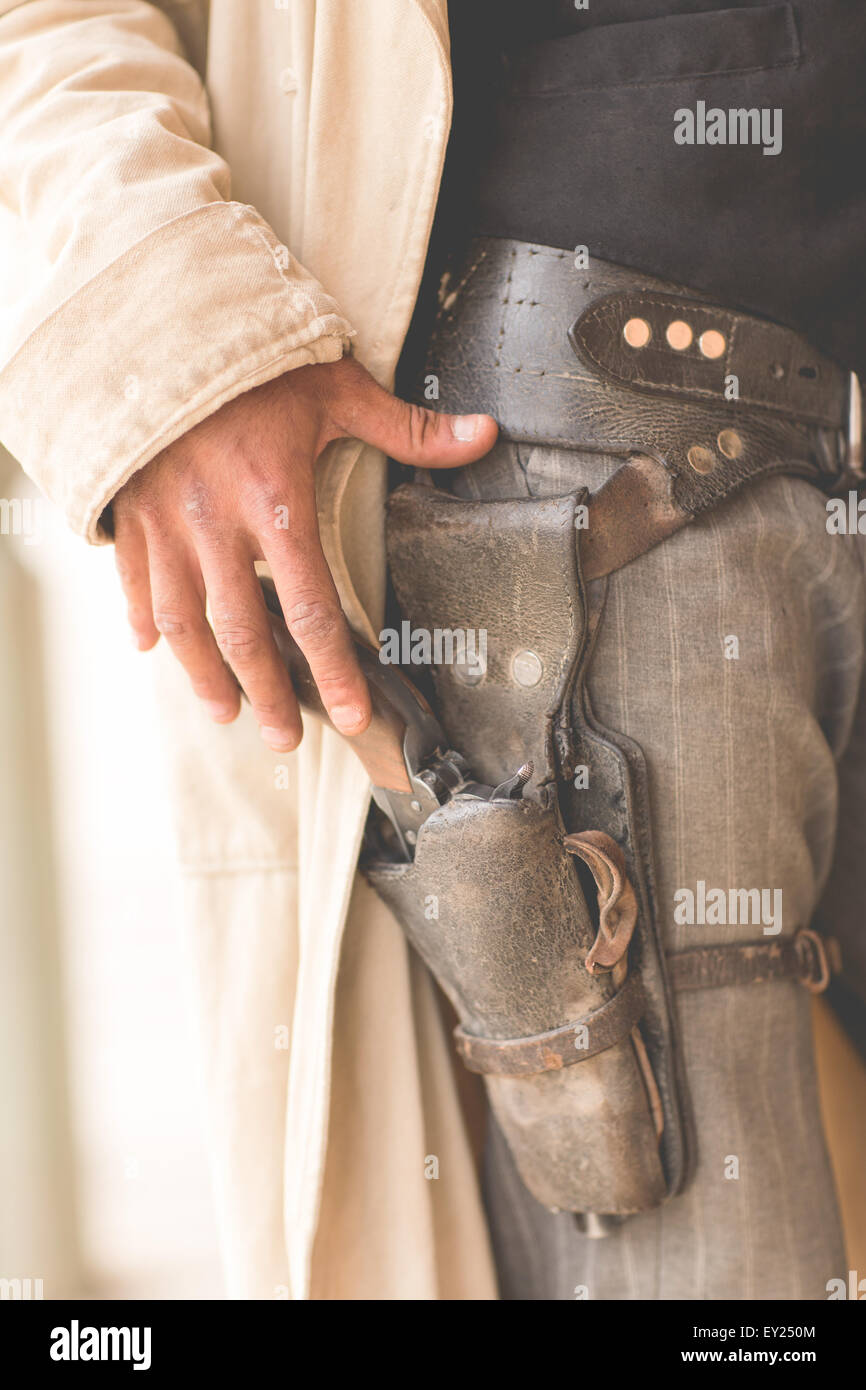 Cropped close up of cowboys gun holster on wild west film set, Fort Bravo, Tabernas, Almeria, Spain - Stock Image