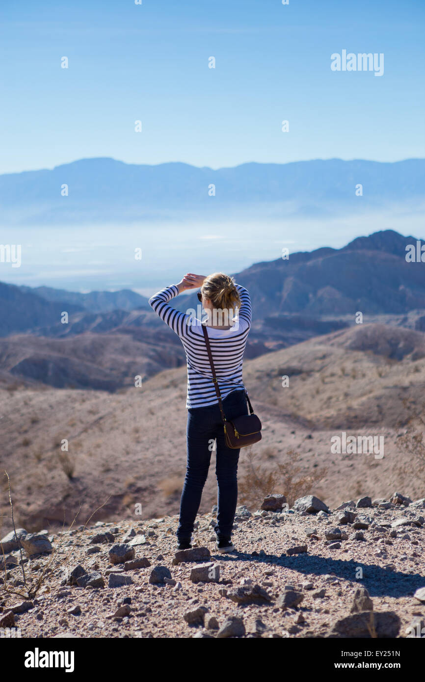 Young woman standing on rocks, looking at mountain view, rear view - Stock Image