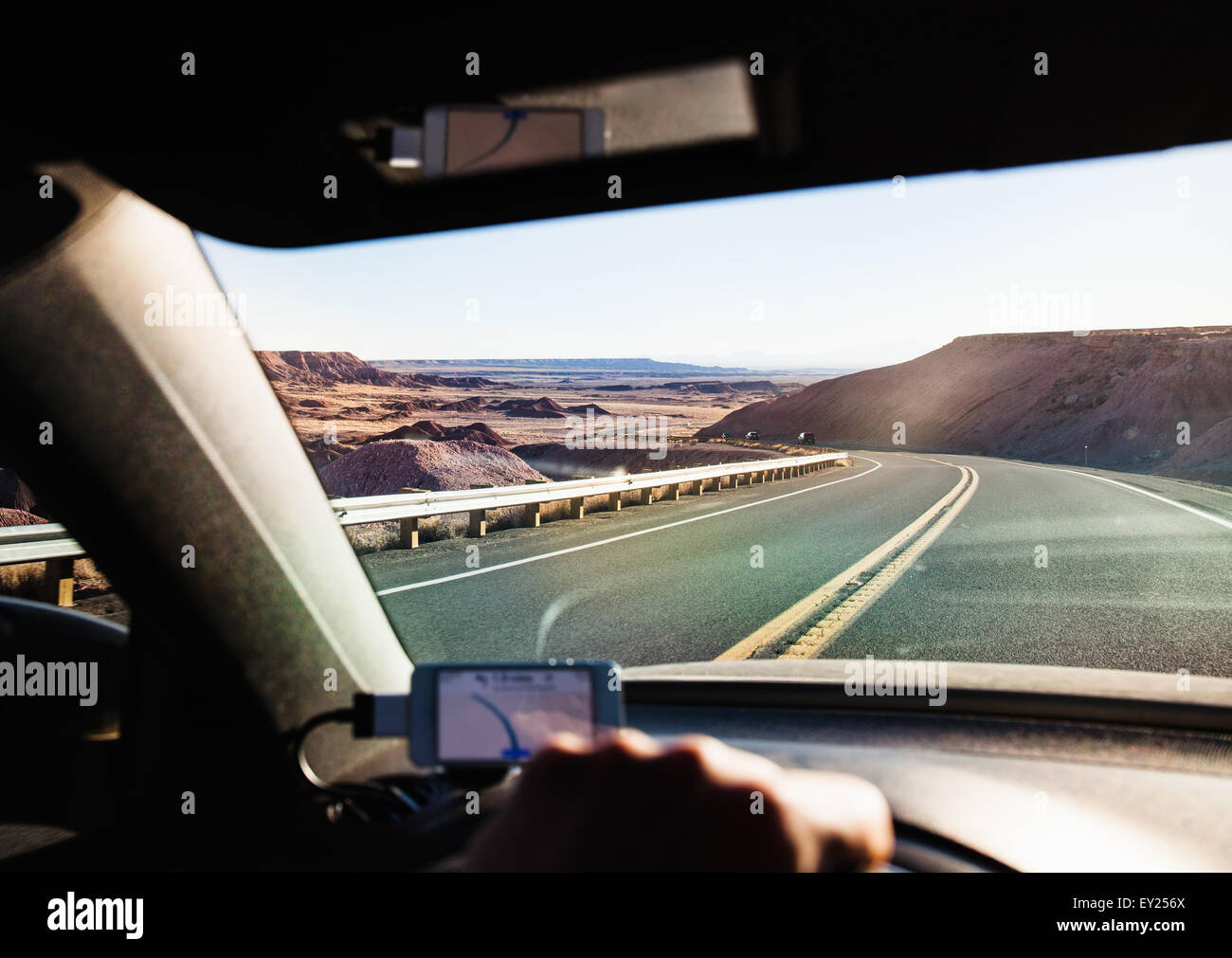 View from inside car driving in Monument Valley, Utah, USA - Stock Image