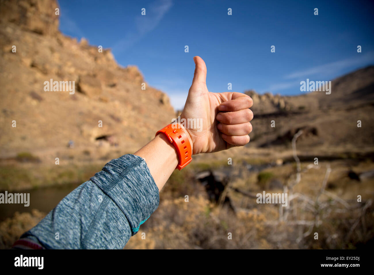 Thumbs up, Smith Rock State Park, Oregon, US - Stock Image