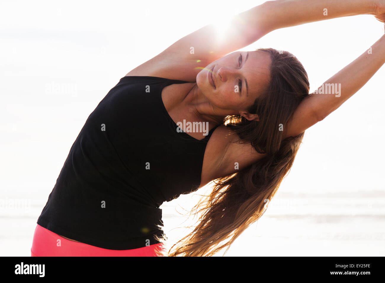 Woman stretching - Stock Image