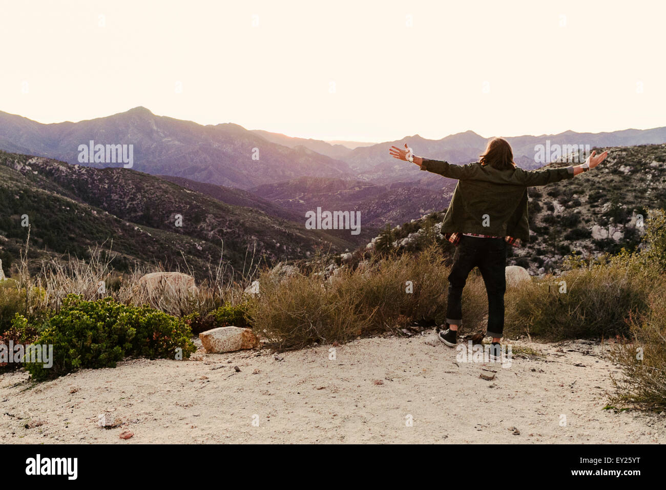 Rear view of young man looking out on landscape, Los Angeles, California, USA - Stock Image
