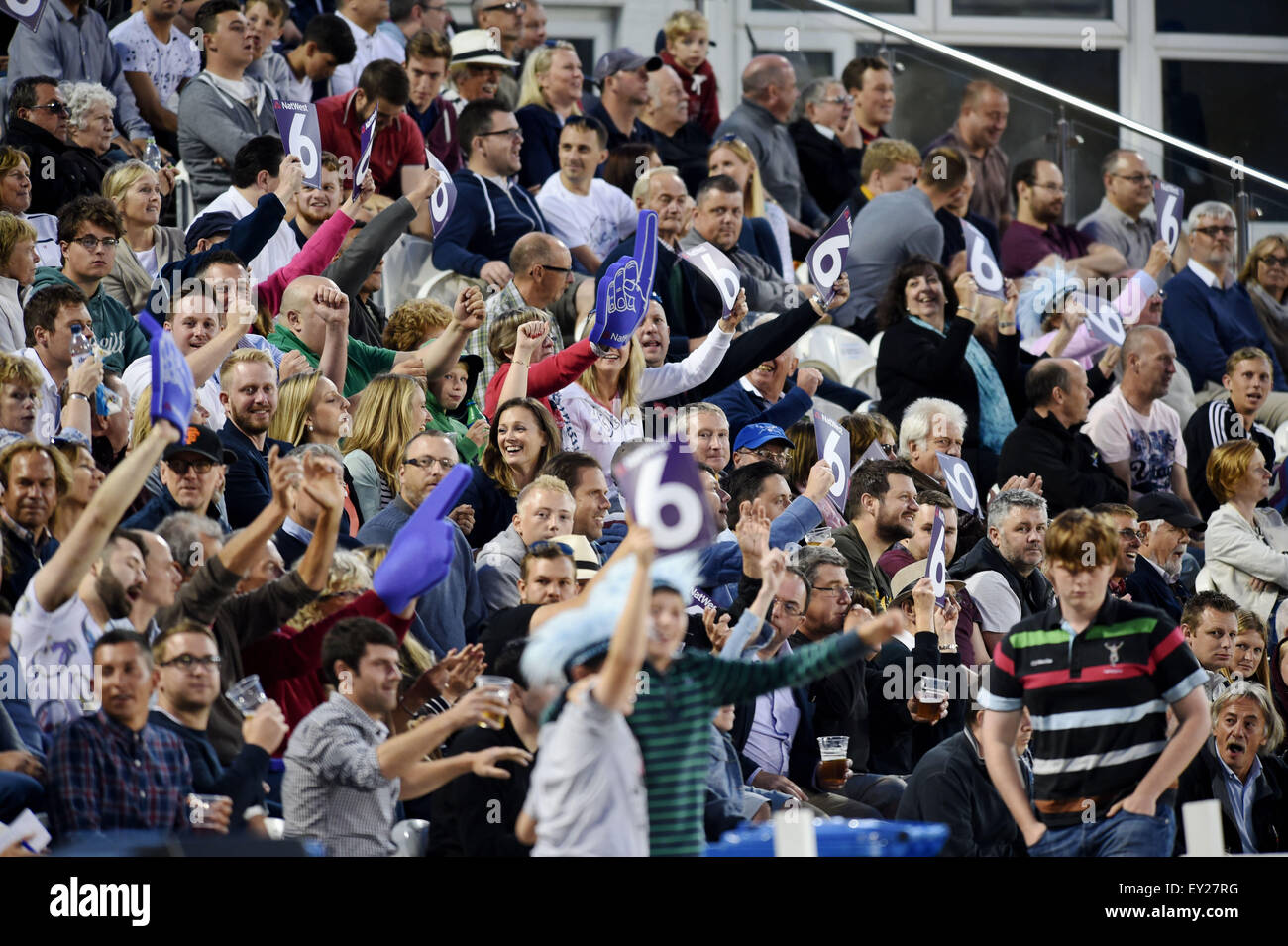Hove UK Friday 17th July 2015 - A capacity crwod watching during the NatWest T20 blast cricket match at Hove County Stock Photo
