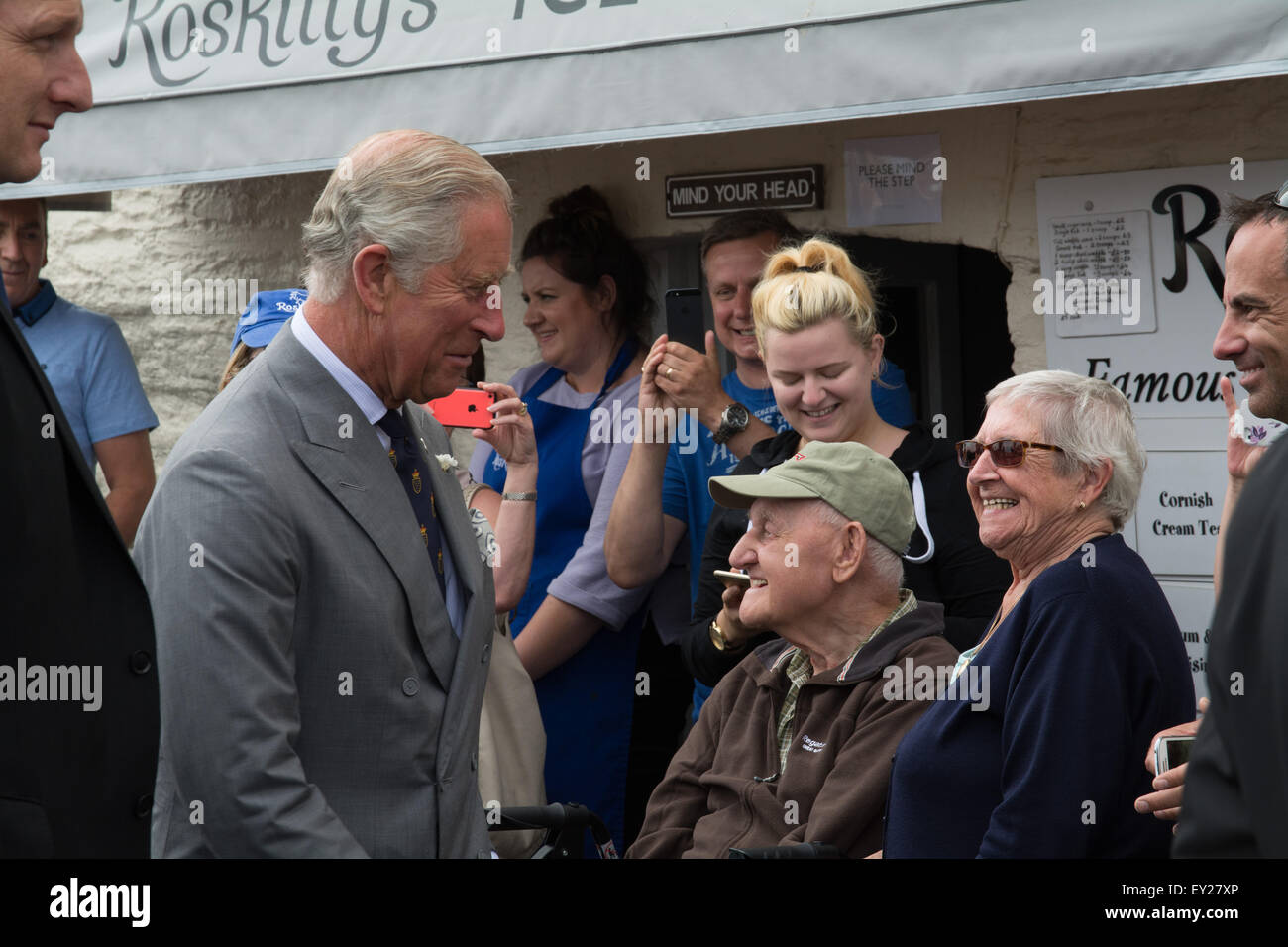 Padstow, Cornwall, UK. 20th July 2015. The Duke and Duchess of Cornwall starting their annual visit to the Duchy - Stock Image