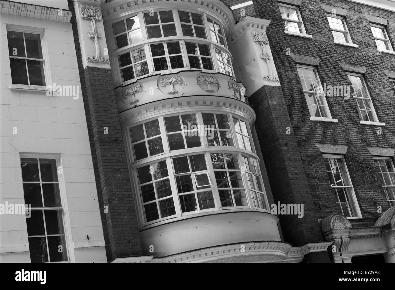 A section of buildings in Soho Square, London, England. - Stock Image