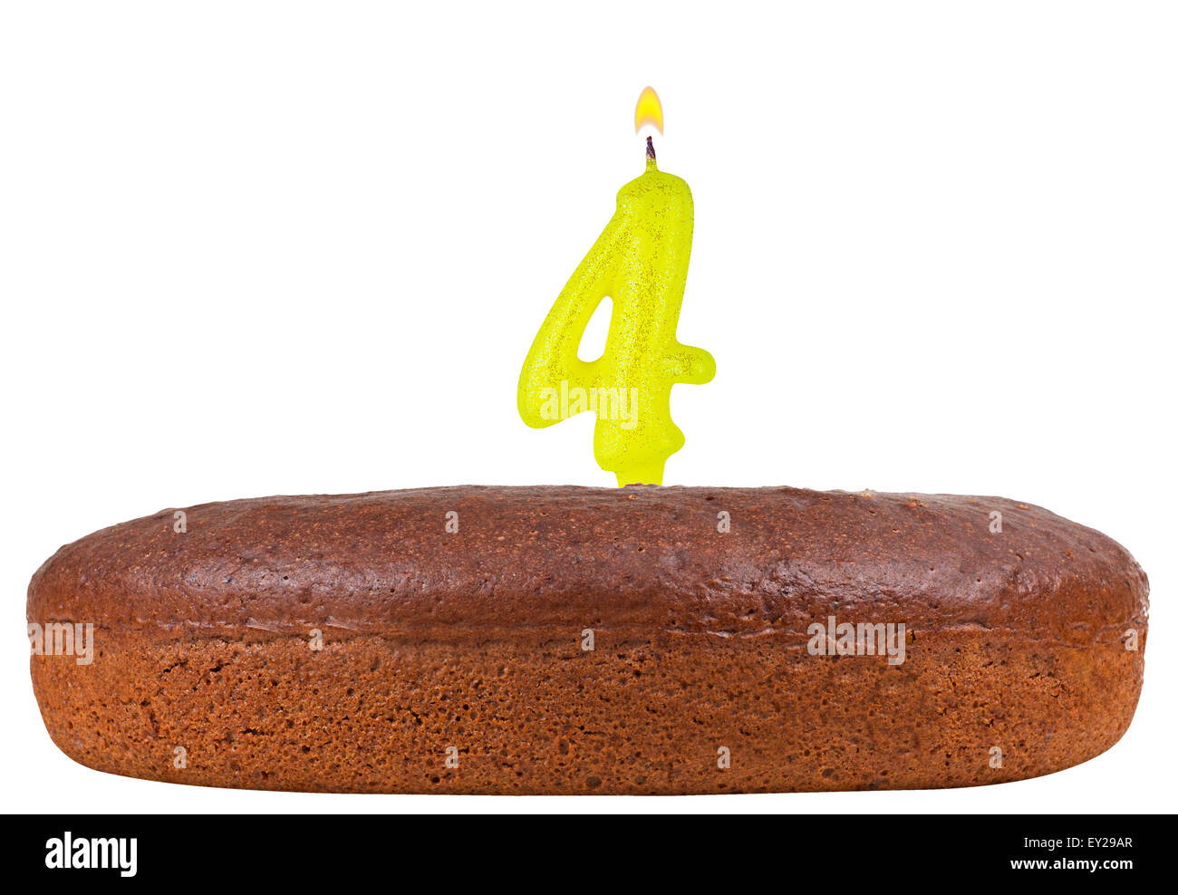 Birthday Cake With Candles Number 4 Isolated