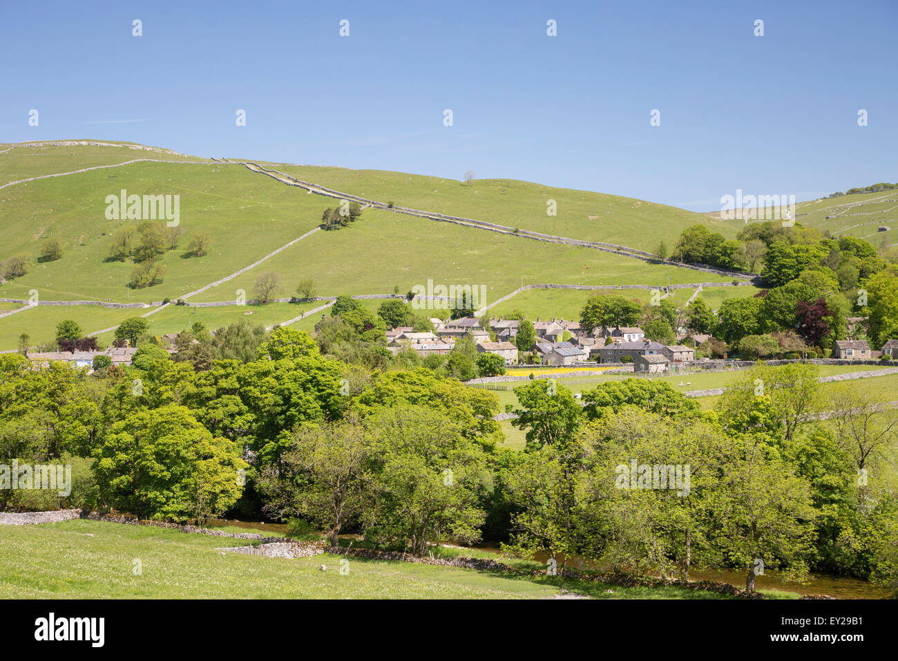 The village of Kettlewell in the Yorkshire Dales National Park, North Yorkshire, England, UK - Stock Image